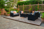 A backyard patio and seating area