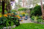 a patio and garden