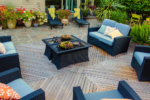 A seating area on an outdoor wooden deck