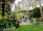 A backyard patio and garden