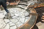 The construction process of a stone patio